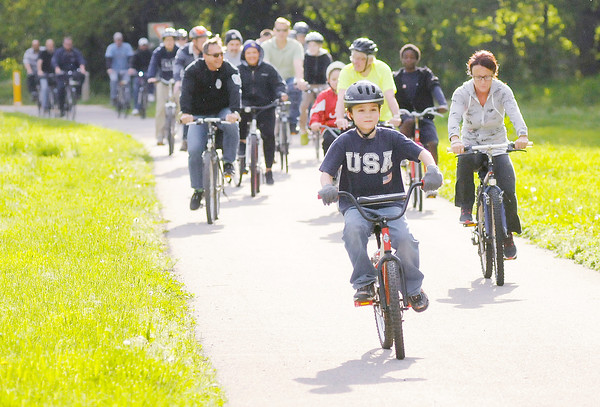 """Don Knight   The Herald Bulletin<br /> Bike Month kicked off with the Mayor's Bike Ride Thursday. View a list of events online at  <a href=""""http://www.madbiking.com"""">http://www.madbiking.com</a>."""