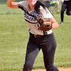 John P. Cleary | The Herald Bulletin<br /> Daleville's shortstop Kristen Zimmers throws the ball to third to force out Wes-Del's runner.