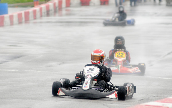 Don Knight   The Herald Bulletin<br /> Eli Fox wins in the Junior 2 division as rain didn't stop the Mayor's Cup Grand Prix on Saturday.