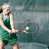 Don Knight | The Herald Bulletin<br /> Pendleton Heights' Sam Hammel returns a volley to Yorktown's Kate Avila in the No. 2 singles match on Friday. Hammel won 6-2, 6-2.
