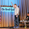 Don Knight | The Herald Bulletin<br /> Tristan Hankins from Highland Middle School reacts after winning The Herald Bulletin Spelling Bee at the Anderson City Building on Thursday. Hankins also won in 2014.