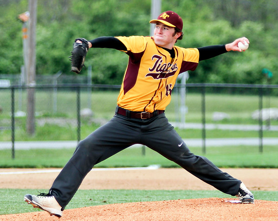 Chris Martin   for The Herald Bulletin <br /> Chet Maynard pitches for Alexandria against Shenandoah in the 1st game of a double header.