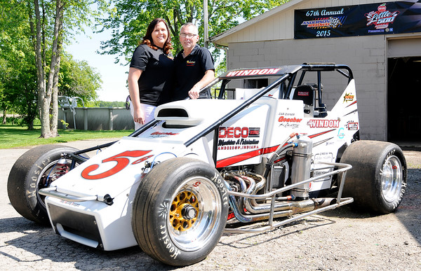 Don Knight | The Herald Bulletin Traci and Jason Goacher, owners of Goecher racing, have been fielding Little 500 cars since the 80s and are looking to defend their title after winning last year's race with driver Chris Windom.