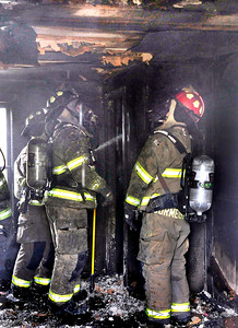 John P. Cleary | The Herald Bulletin Garage fire in the 2000 block of Pearl Street.