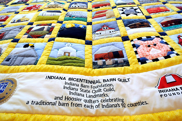 John P. Cleary | The Herald Bulletin<br /> The Indiana Bicentennial Barn Quilt will be on display during the RedBud Quilt Guild's biennial quilt show.