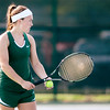 Don Knight | The Herald Bulletin<br /> Pendleton Heights Emma McCardwell  serves to Yorktown's Hallie Hardwick in the No. 1 singles match on Friday. McCardwell won 6-0, 6-3.
