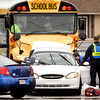 John P. Cleary | The Herald Bulletin<br /> A traffic accident involving a school bus and two other vehicles sent several persons to the hospital but ACS officials say no one was injured on the bus.<br /> The accident happened about 3:30 p.m. at Scatterfield Road and 10th Street.