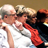 John P. Cleary   for The Herald Bulletin<br /> Those is attendance reflect on the prayers being said during the National Day of Prayer Thursday at the Anderson City auditorium.