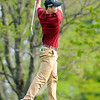 Don Knight | The Herald Bulletin<br /> Alexandria's Ethan Warren watches his ball approach the green from the first fairway during the County golf tournament at Grandview on Monday.