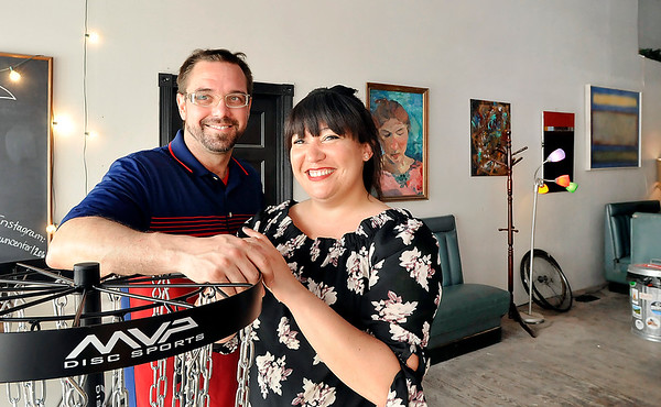 John P. Cleary |  The Herald Bulletin<br /> Levi Rinker and Sonia Caldwell hope to have their community art center, A Town Center, opened this summer if their fund raiser is successful.