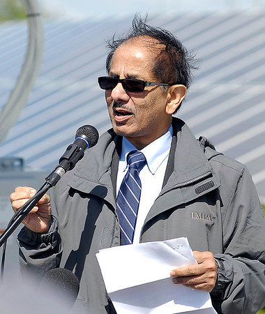 John P. Cleary |  The Herald Bulletin<br /> Indiana Municipal Power Agency CEO Raj Rao addresses those gathered at the official opening of the Anderson 1 Solar Park Tuesday.
