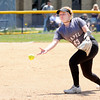 Don Knight | The Herald Bulletin<br /> Lapel's Chloe Bousman tosses the ball to first base as the Bulldogs faced the Shenandoah Raiders for a double header on Saturday