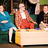 "Don Knight | The Herald Bulletin<br /> From left, Tansy McGinnis (Aleia Short), Rick Steadman (Elmore Hammes) and Willum Cubbert (Cameron Vale) play a game during a dinner part in Mainstage Theatre's production of ""The Nerd."""