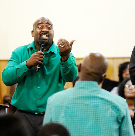 Don Knight | The Herald Bulletin<br /> Minister Kojak Fuller delivers the eulogy for Montez McCloud during his funeral at Friendship Missionary Baptist Church on Friday.