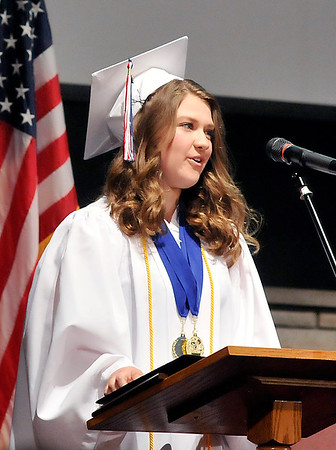John P. Cleary |  The Herald Bulletin<br /> Indiana Christian Academy Valedictorian Preslie Plew gives her address to her fellow graduates.