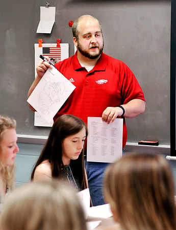 John P. Cleary |  The Herald Bulletin<br /> Jesse Pruitt, a third-year social studies teacher at Frankton Jr-Sr High School,<br /> was named the the Max Beigh Enriching Education Award winner for high school teachers. The award is sponsored by the Anderson Noon Exchange Club.