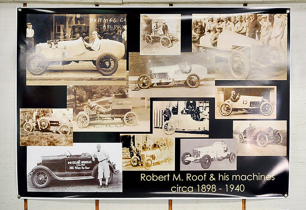 John P. Cleary    The Herald Bulletin<br /> This is one of the poster Jim Roof has of his grandfather and his many racing machines.
