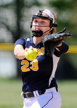 Don Knight   The Herald Bulletin<br /> Faith Muterspaugh pitches for the the Shenandoah Raiders as they hosted the Lapel Bulldogs for a double header on Saturday.