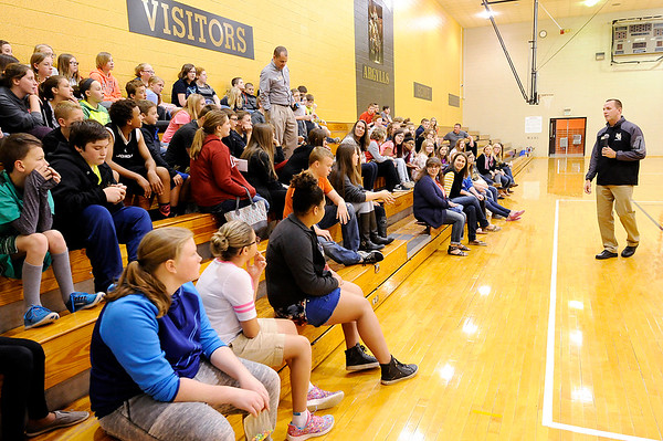 Don Knight | The Herald Bulletin<br /> Madison-Grant Junior/Senior High School Principal Chris Smedley talks to incoming sixth grade students at the end of their tour of Madison-Grant Junior High on Friday.