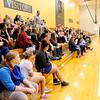Don Knight | The Herald Bulletin<br /> Madison-Grant Junior/Senior High School Principal Chris Smedley talks to incoming sixth grade students at the end of their tour of Madison-Grant Junior High on Friday.