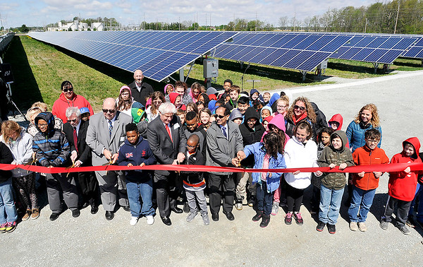 John P. Cleary |  The Herald Bulletin<br /> The Indiana Municipal Power Agency, along with local and state government officials and local elementary school 4th graders officially opened the Anderson 1 Solar Park Tuesday with a ribbon-cutting. The students have been studying about renewable energy and were invited to take part in the opening and tour the new facility.
