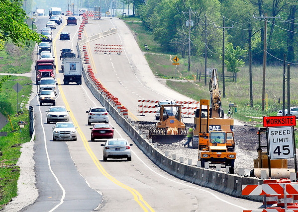 John P. Cleary |  The Herald Bulletin<br /> Road construction continues along State Road 67 between I 69 and Huntsville Road just north of Pendleton this week. There continues to be lane changes and closures throughout the stretch of roadway being redone.