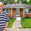 John P. Cleary |  The Herald Bulletin<br /> Jason Winters stands out front of the house on Poplar Street that  he had an altercation with a Anderson police officer.