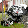 Don Knight | The Herald Bulletin<br /> No one was injured after a train hit a car in the crossing on Rangeline on Thursday afternoon.