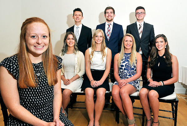 John P. Cleary |  The Herald Bulletin<br /> Allison McCarty, foreground, Pendleton Heights, was named the Red Haven Memorial Award winner Tuesday. The other finalists for the award are seated L to R: Caroline Seybert, APA; Jenna Scott, Liberty Christian; McKenzie Wilson, Elwood; and Riley Gill, Lapel. Standing are Blake Morehead, Alexandria-Monroe; James Brandon, Anderson; and Keegan Freestone, Frankton. <br /> <br /> <br /> The Anderson Noon Exchange Club annual Red Haven Award.