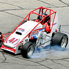 John P. Cleary |  The Herald Bulletin<br /> Two-time Pay Less Little 500 champion Brian Tyler smokes his tires as he brakes into turn one during his qualifying attempt Friday in his backup car. Tyler posted the second fastest time Friday in the backup to start 17th. Tyler had lost an engine in his primary car during an earlier qualifying attempt.