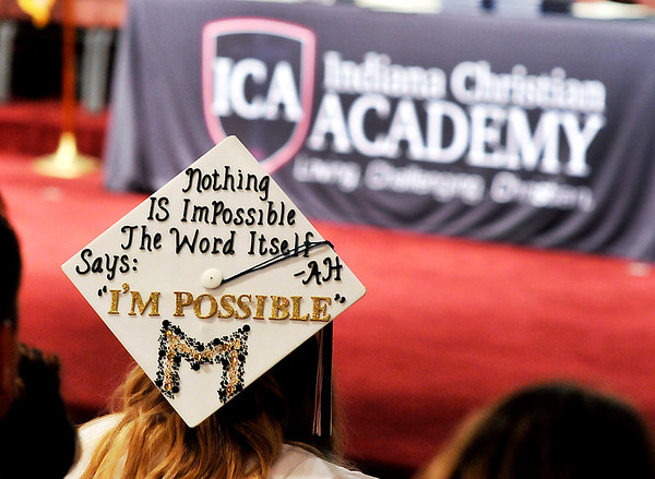 John P. Cleary    The Herald Bulletin<br /> Indiana Christian Academy Graduate Madison Edgreen had this message on her graduation cap Friday evening.