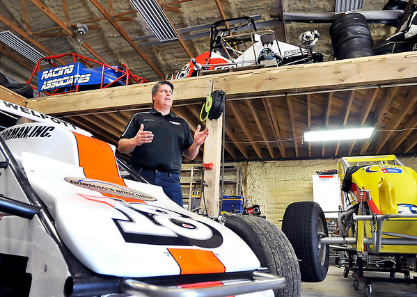 John P. Cleary |  The Herald Bulletin<br /> Local race car driver Travis Welpott hopes to make his sixth Little 500 race this year. Surrounded by different race cars in his rural Pendleton shop Welpott says that qualifying for the race is the toughest part of the Little 500.