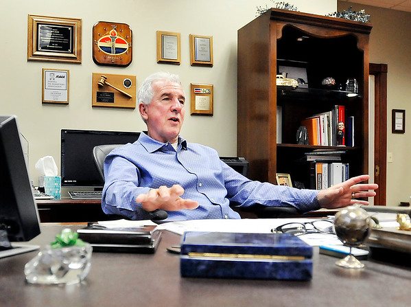 John P. Cleary |  The Herald Bulletin<br /> Jay Ricker, co-founder of Ricker Oil Co., talks about the past legislative session during a Q&A in his office in Anderson this past week.