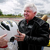 Mark Maynard | for The Herald Bulletin<br /> Anderson Mayor and rookie kart driver Thomas Broderick, Jr. is all smiles after his first taste of motorsports competiton in a celebrity race at the Mayor's Cup Grand Prix on Saturday.