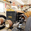 John P. Cleary |  The Herald Bulletin<br /> Jim Roof in his garage with a restored 1917 Laurel Speedster and other memorabilia from Laurel Motors and R&R Manufacturing of Anderson which his grandfather, Robert Roof, help start.