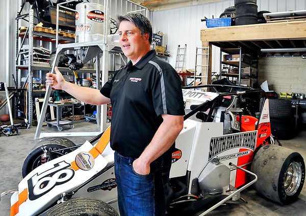 John P. Cleary    The Herald Bulletin<br /> Local race car driver Travis Welpott hopes to make his sixth Little 500 race this year. Standing in his rural Pendleton shop Welpott says that qualifying for the race is the toughest part of the Little 500 and hopes to qualify better this year in his No.18 sprint car.