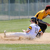 Don Knight | The Herald Bulletin<br /> Shenandoah's Tyler James slides into to third base as the Raiders hosted the Alexandria Tigers for a doubleheader on Saturday