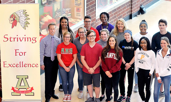 John P. Cleary | The Herald Bulletin<br /> Anderson High School senior class president Noah Bozell, far left, and members of the senior executive council, have raised funds to help cover the cost of this year's commencement ceremony.