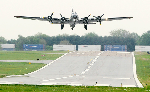 Don Knight   The Herald Bulletin<br /> The B-17 Bomber Aluminum Overcast takes off from Anderson Airport on Saturday. The aircraft will be at the airport again Sunday for flights from 10 a.m. - 2 p.m. and for ground tours from 2 p.m. to 5 p.m.