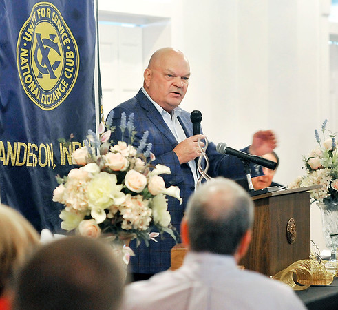 John P. Cleary | The Herald Bulletin<br /> Dr. Thom Mayer, the first recipient of the Rad Haven Memorial Award in 1969, gives the keynote address at the 50th anniversary awards luncheon Tuesday.