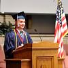 John P. Cleary | The Herald Bulletin<br /> Indiana Christian Academy graduation. Salutatorian Samuel Dollens gives his address.