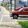 John P. Cleary | The Herald Bulletin<br /> Dangerous intersections with poor visibility. This is North C Street and North Anderson Street in Elwood. This driver has to pull up into the cross walk to see  traffic from the north as they try to pull out onto North Anderson Street.