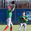 John P. Cleary | The Herald Bulletin<br /> Anderson's Cameron Pratt calls off outfielder Logan Wilhoite as he runs down a pop up in center field.