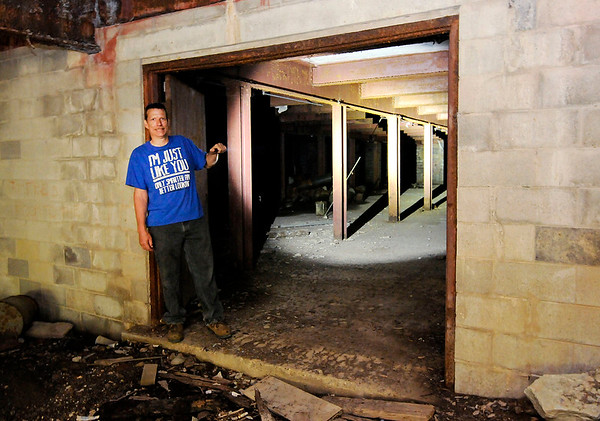 Don Knight   The Herald Bulletin<br /> Tim Bowers stands at the entrance of a former fallout shelter in Anderson.
