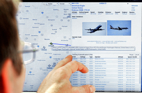 John P. Cleary   The Herald Bulletin<br /> The new aviation computer software shows the location of every aircraft  in the country that is equipped with the new technology plus will show a plane's call sign, altitude, speed, heading, flight plan and plane type with photo.