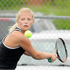 Don Knight | The Herald Bulletin<br /> Lapel's Maddie Shannon keeps her eye on the ball as she readies her backhand in the No. 1 singles match as the Bulldogs hosted Greenfield-Central on Friday.