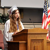 John P. Cleary | The Herald Bulletin<br /> Indiana Christian Academy graduation. Valedictorian Abigail Plew gives her address to the class of 2018.