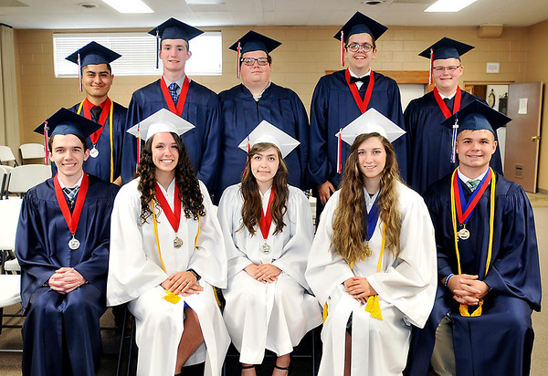 John P. Cleary | The Herald Bulletin<br /> The class of 2018 at Indiana Christian Academy include, front row L to R: Conner Hoover, Megan Ellis, Joanna Essex, Abigail Plew, and Samuel Dollens.<br /> Back row: Jonathan Sanjuan, Braydon Achenbach, Zachary Choate, Caleb Dissmore, and Roger Cummins.