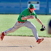 John P. Cleary | The Herald Bulletin<br /> Anderson's second baseman Brayden Waymire runs down a grounder to get the third out of the third inning leaving two Raiders on base.