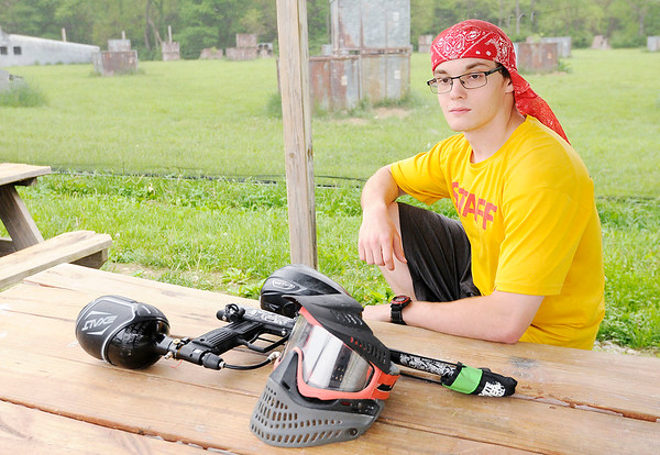 Don Knight | The Herald Bulletin<br /> Jaxon Pardue works as a referee at White River Paintball.